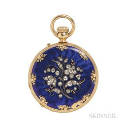 Antique 18kt Gold, Enamel, and Diamond Hunting Case Pocket Watch