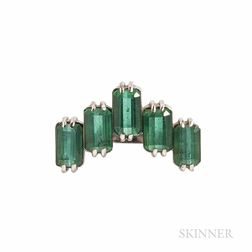 18kt White Gold and Green Tourmaline Ring