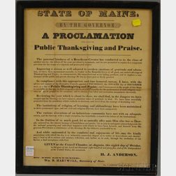 "Framed Printed Broadside ""State of Maine, By the Governor.  A Proclamation for a   Day of Public Thanksgiving and Praise,"""