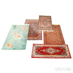 Five Oriental Rugs, Kasvin, Iran, c. 1960, 4 ft. 7 in. x 2 ft.; Hamadan, Iran, c. 1950, 4 ft. 10 in. x 2 ft. 6 in.; Indo-Sarouk, c....