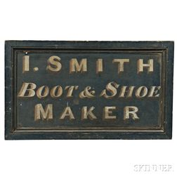 """Painted """"I. SMITH BOOT & SHOE MAKER"""" Trade Sign"""