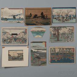 Nine Mostly Hiroshige Woodblock Prints