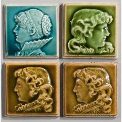 Four Trent Tile Works Art Pottery Tiles