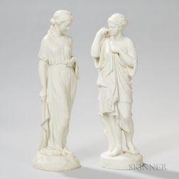 Two Copeland Parian Figures of Classical Ladies