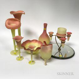 Sixteen Pieces of Burmese Glass