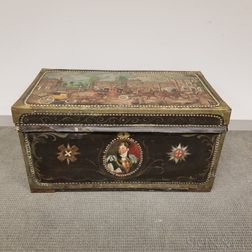 Chinese Export Brass-bound and Paint-decorated Leather and Camphorwood Box