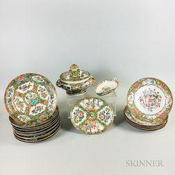 Twenty-one Pieces of Rose Medallion Porcelain Tableware.     Estimate $200-400