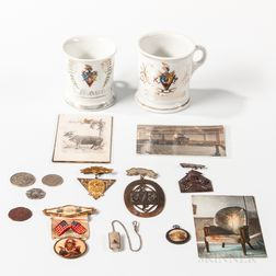 Seventeen Fraternal Medals, Ribbons, Postcards, and Shaving Mugs