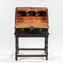 Small Black-painted Slant-lid Desk on Frame