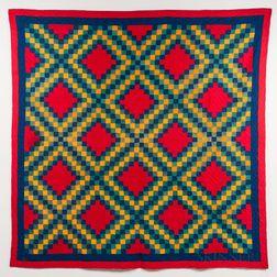 Hand-stitched Geometric Quilt