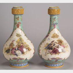 Pair of Minton Handpainted Earthenware Vases