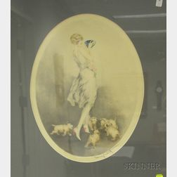 Framed Etching on Paper of Woman with Puppies Attributed to Louis Icart   (Franco/American, 1888-1950)