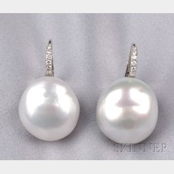 18kt White Gold, South Sea Pearl, and Diamond Earpendants, Donna Vock