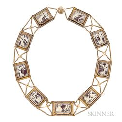 Antique Gold and Cameo Necklace