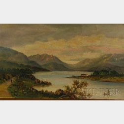 Unframed 19th Century American School Oil on Canvas Lake George Landscape