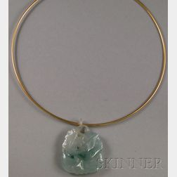 14kt Gold Wire Choker with Carved Jade Pendant