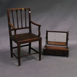 Classical Mahogany Shaving Mirror and a Country Federal Square-back Armchair