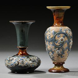 Two Doulton Lambeth George Tinworth Vases
