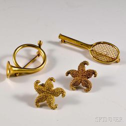 14kt Gold Racket Brooch, French Horn Brooch, and a Pair of Starfish Earrings