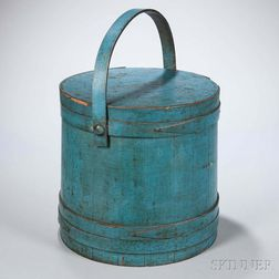Blue-painted Lidded Pail
