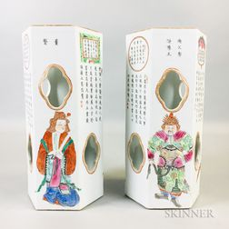 Pair of Enameled Porcelain Hat Holders