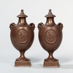 Pair of Wedgwood Bronzed Black Basalt Vases and Covers