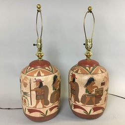 Pair of Earthenware Table Lamps