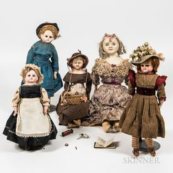 Five Wax and Composition Dolls