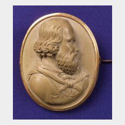 Antique 18kt Gold Lava Cameo of Giuseppe Garibaldi