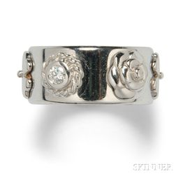 """18kt White Gold and Diamond """"Camellia"""" Band, Chanel"""
