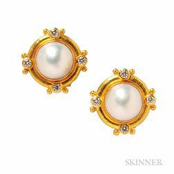 19kt Gold, Mabe Pearl, and Diamond Earrings, Elizabeth Locke