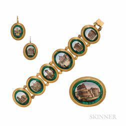 Suite of Antique Gold and Micromosaic Jewelry