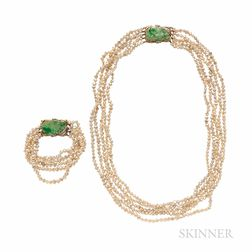 14kt Gold, Jade, Diamond, and Freshwater Pearl Necklace and Bracelet