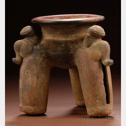 Pre-Columbian Pottery Tripod Vessel
