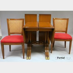 Mahogany Drop-leaf Extension Dining Table and a Set of Four Kindel Caned and   Upholstered Cherry Dining Chairs