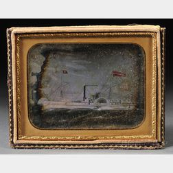 Quarter-plate Daguerreotype of a Painting of the Paddlewheeler Meneman Sanford,Meneman Sanford was launched in 1854 as a New England co