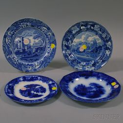 Four English Blue and White Transfer Decorated Staffordshire Plates