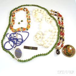 Group of Hardstone and Ivory Jewelry