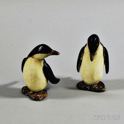 Pair of Carved and Painted Walnut Penguins