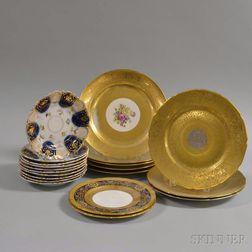 Twenty Gilt Porcelain Dinner and Dessert Plates