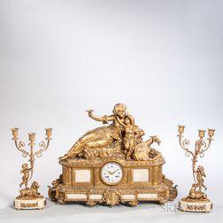 Louis XV-style Three-piece Gilt-bronze Clock Garniture