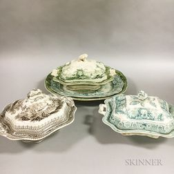 Three Transfer-decorated Covered Ceramic Serving Dishes and Two Platters