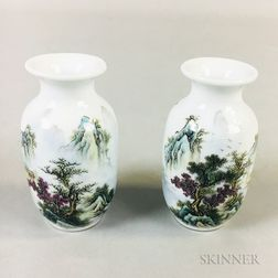 Pair of Miniature Enameled Porcelain Vases