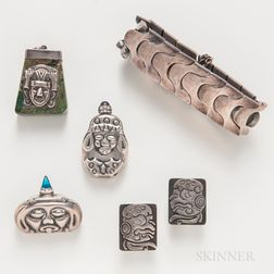 Five Pieces of Mexican Sterling Silver Jewelry by Antonio Pineda, Los Ballesteros, and Others