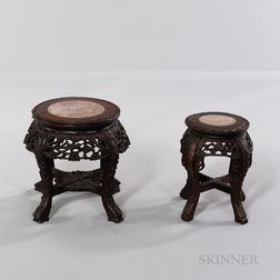 Two Marble-top Carved Hardwood Stands