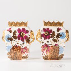 Pair of Limoges Porcelain Floral-decorated Vases