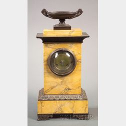 Empire Revival Sienna Marble and Bronze Mounted Mantel Clock