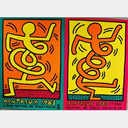 Keith Haring (American, 1958-1990)      Two Montreux Festival de Jazz   Posters