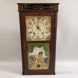 "Silas Hoadley ""Union Must Be Preserved"" Reverse-painted Mahogany Shelf Clock"