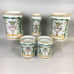 Five-piece Faience Polychrome Ceramic Garniture Set